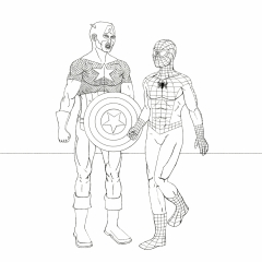 Captain America talks to Spider-Man WIP021