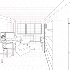 1 Point Perspective Open Room 002 Living Room WIP010 - W1800H1273