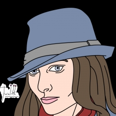 Girl with fedora - head view Color WIP001 - W1131H1600