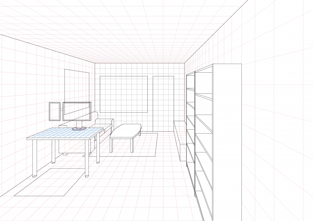 1 Point Perspective Open Room 002 Living Room WIP004 Part 54