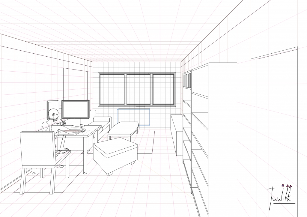 1 Point Perspective Open Room 002 Living Room WIP009 Part 93
