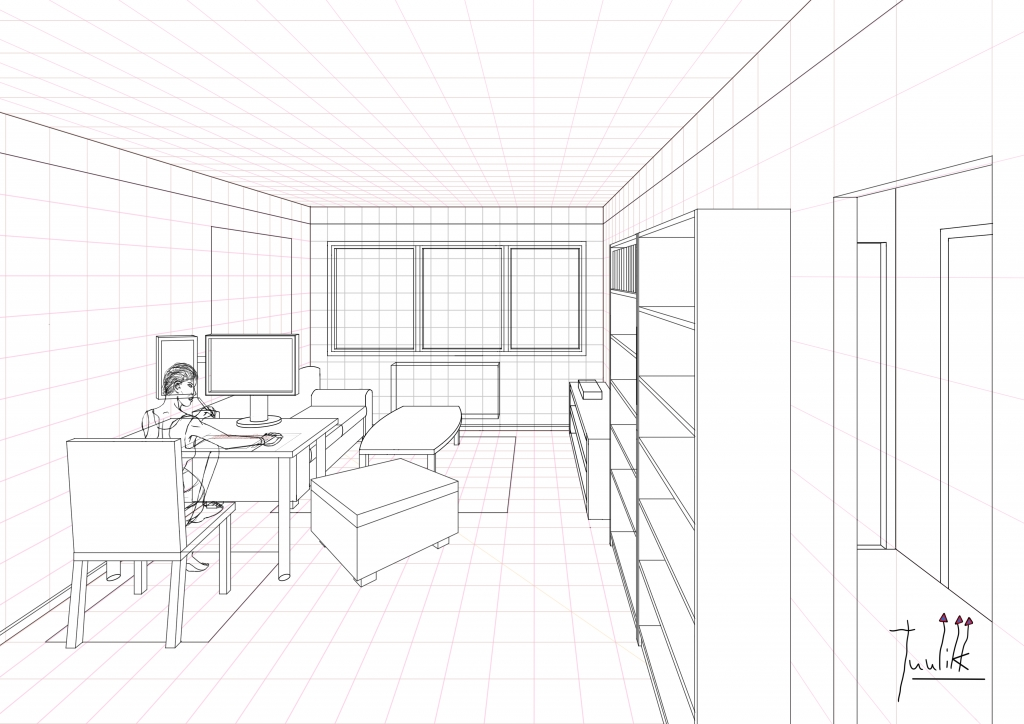 1 Point Perspective Open Room 002 Living Room WIP010 Part 77