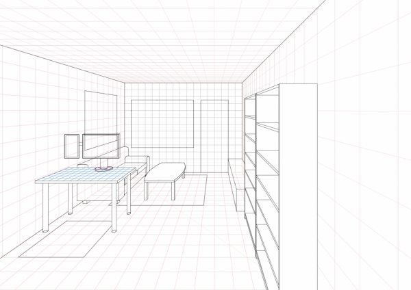 1 Point Perspective Open Room 002 Living Room WIP004