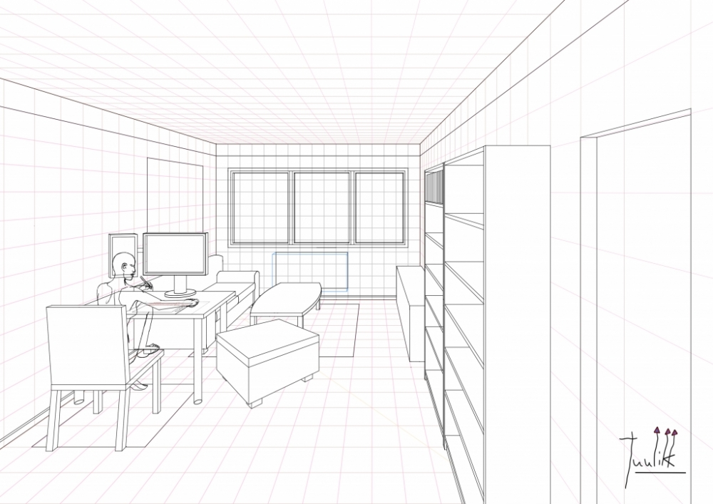 A ongoing living room drawing in one point perspective for Simple drawing room images
