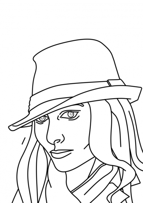 Girl with fedora - head view WIP006