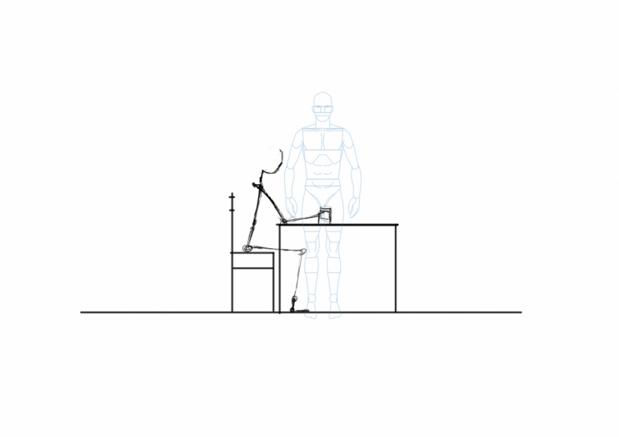 Man sitting by table - side view WIP002