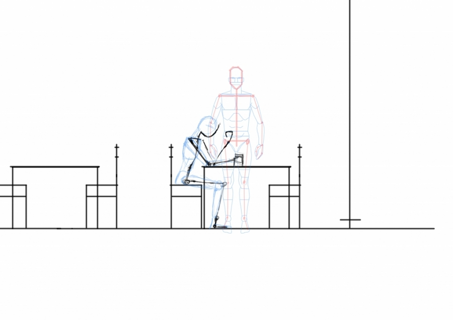 Man sitting by table - side view WIP004
