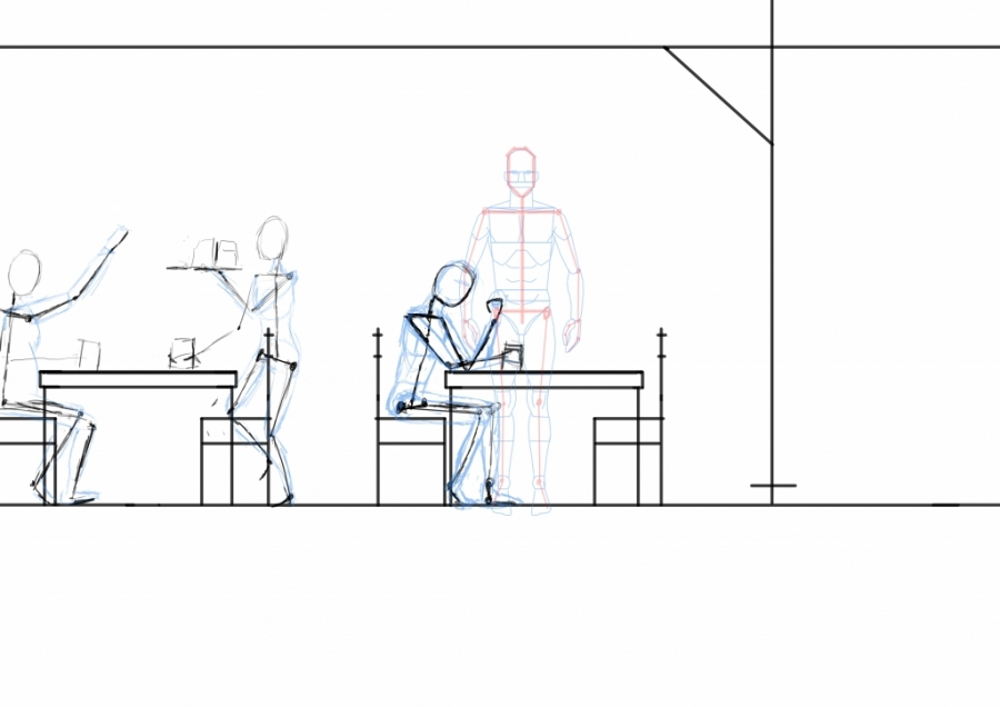 Man sitting by table - side view WIP006