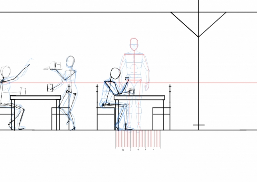 Man sitting by table - side view WIP007