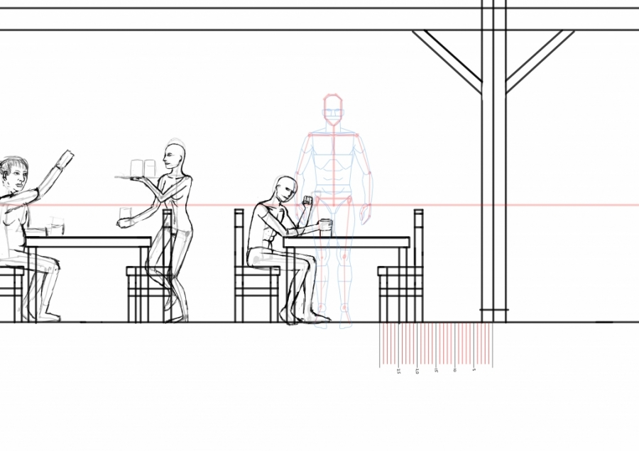 Man sitting by table - side view WIP008