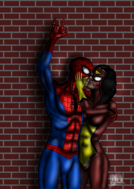 Spider-Man and Spider-Woman kissing Color 10.jpg