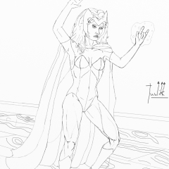 Scarlet Witch WIP 021 - Line Art