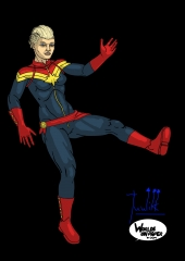 Captain Marvel in the air WIP008 color - W1131H1600