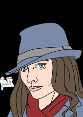 Girl with fedora - head view Color WIP001