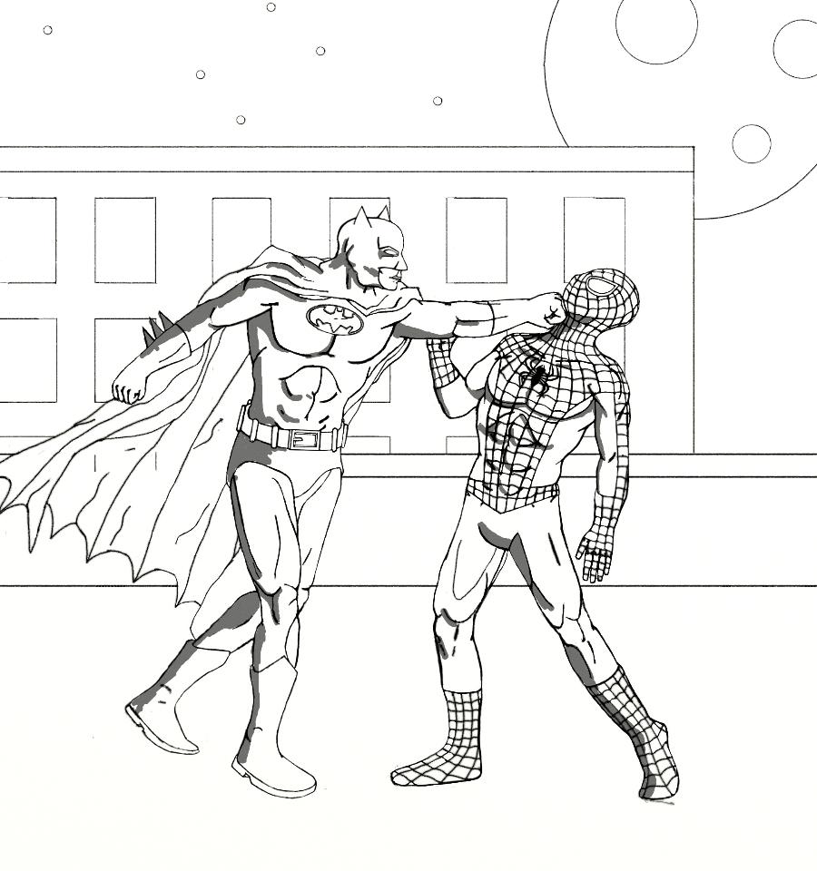 Spiderman batman coloring pages - Batman Vs Two Face Coloring Pages Google Twit