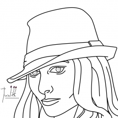 Girl with fedora - head view WIP007 - W1131H1600