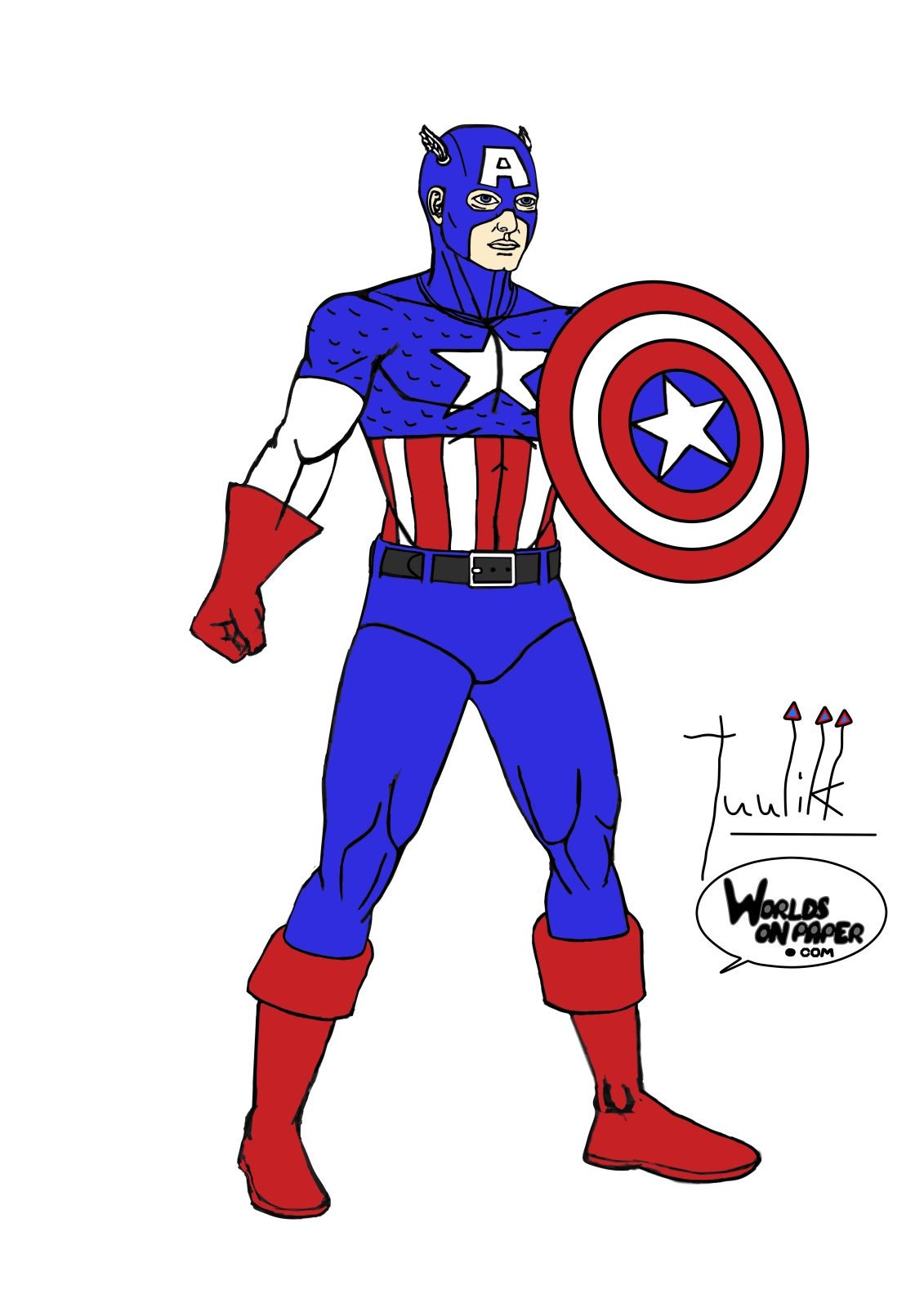 Captain america standing. Worlds on paper