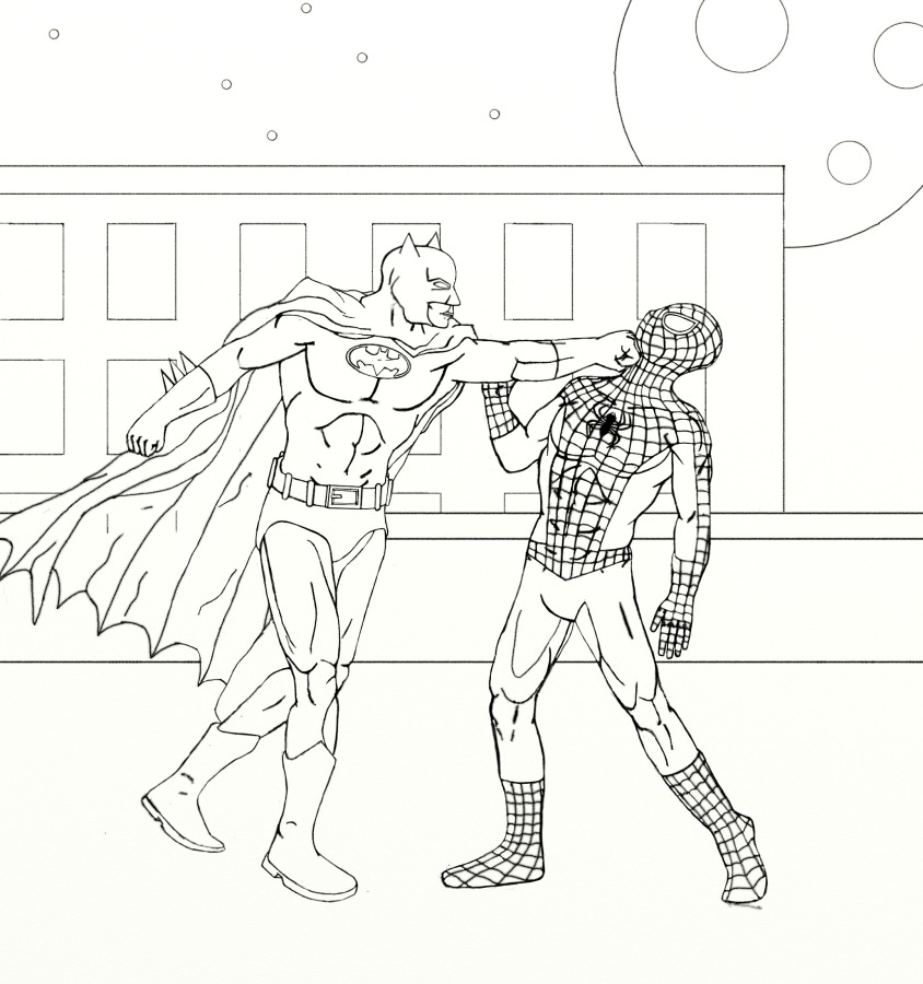 coloring pages batman spiderman crossover - photo#13