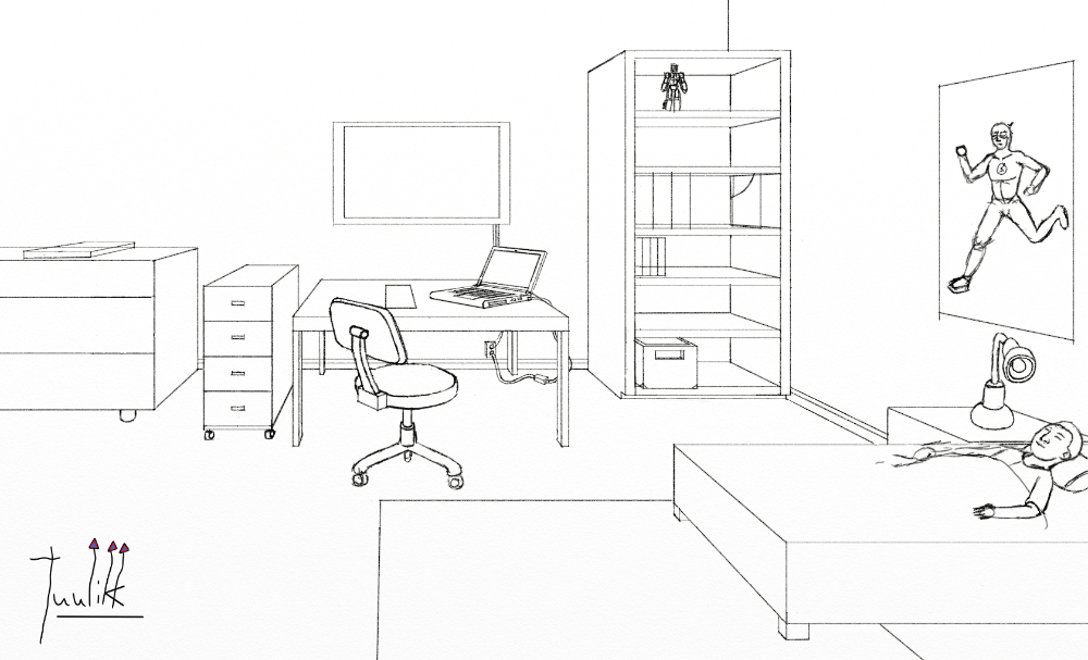 Line Drawing Room : Boy room line art and adding in details worlds on paper
