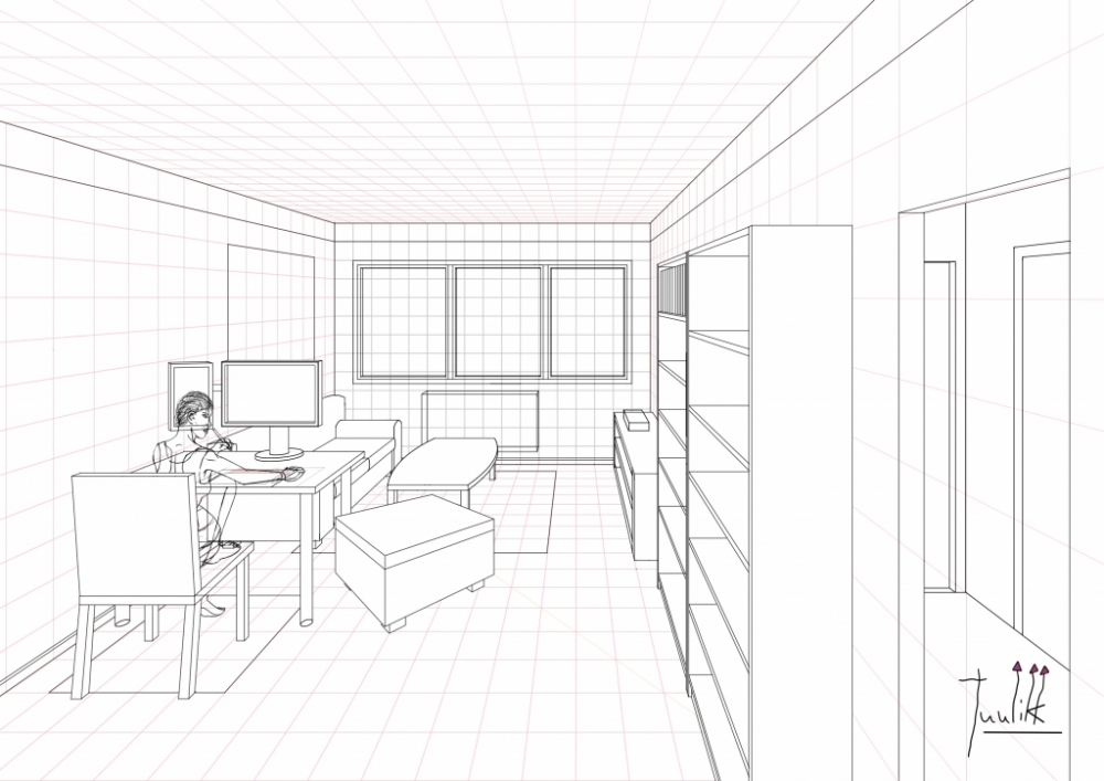 A ongoing living room drawing in One Point Perspective ...