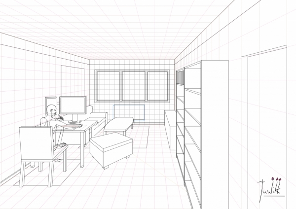 room perspective grid kitchen and living space interior
