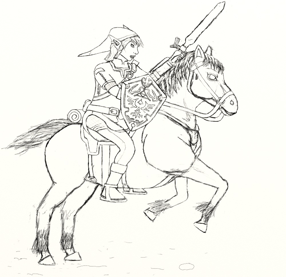 link riding epona to action wip 02 worlds on paper