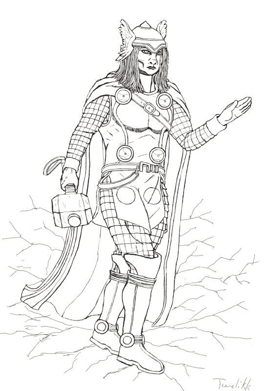 Mighty Avengers Coloring Pages : The mighty thor post marvel civil war line art near